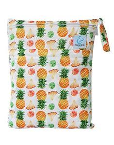Maman et bb Nature – Sac imperméable pour couches lavables 2 poches anse à pression – Ananas