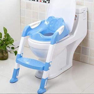 QAZW Reducteur De Toilette Bébé avec Antidérapant Échelle Marche Siège De Toilette Enfant Souple Cushion Et Poignée De Sécurité