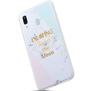 Saceebe Compatible avec Samsung Galaxy A30 Coque Ultra Mince Crystal Clear Housse de Protection avec Fleur Marbre Motif Dessin Étui Silicone Souple Clair Housse TPU Bumper,Or