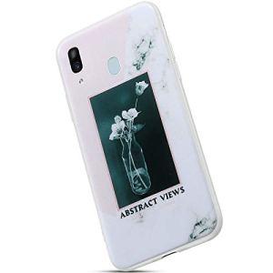Saceebe Compatible avec Samsung Galaxy A40 Coque Ultra Mince Crystal Clear Housse de Protection avec Fleur Marbre Motif Dessin Étui Silicone Souple Clair Housse TPU Bumper,Fleur Blanc