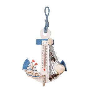 Vosarea Thermomètre Bois Ancre Décoration Maritime Décoration de Table Décoration Murale pour Salle de Bain Chambre Chambre Décoration (Aléatoire)