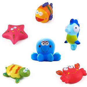 Yojoloin Jouets de Bain bébé, étoiles de mer, hippocampes (6PCS), Jouets pour bébé de Bain Flottant Jouets pour bébé, Jouets de Bain avec des créatures de la mer, Jouets de Bain pour Enfants