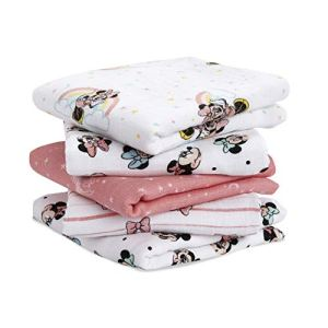 aden + anais essentials – Lange Bébé en Mousseline de Coton Musy, DISNEY, Carré 100 % Coton pour Bébé, Minnie, Qualité Premium, Nouveaux-nés, Garçon et Fille, Multicolore, 60 x 60 cm, Lot de 5