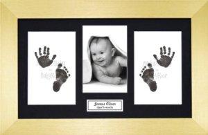 Anika-Baby BabyRice Kit empreintes de pieds et mains de bébé avec impression noire sans encre/cadre doré avec support noir