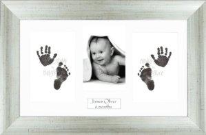 Anika-Baby BabyRice Kit empreintes de pieds et mains de bébé avec impression noire sans encre/cadre effet vieilli argenté avec support blanc