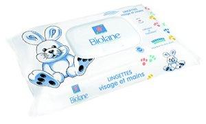 Biolane – Lingettes Visage et Mains pour bébé – Lingettes ultra-douces pour l'hygiène quotidienne du bébé – 64 lingettes