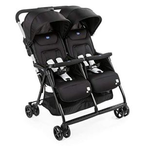 Chicco – Poussette Double Ohlala Twin – Pliage à une main et compacte – Black Night