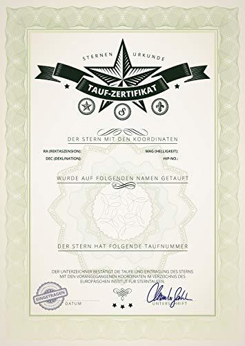 Etoile de baptême – Etoile véritable – Enseigne étoilée – Étoile avec Certificat – Coffret Cadeau – Argent