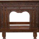 Guru-Shop Ancien lit à Baldaquin, lit de Jour en Teck Clair – Modèle 4, Marron, 200x225x138 cm, Lits
