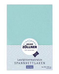 Julius Zöllner 8390347600 Drap-housse en jersey pour matelas à barreaux Turquoise 68 x 90 à 95 x 95 cm