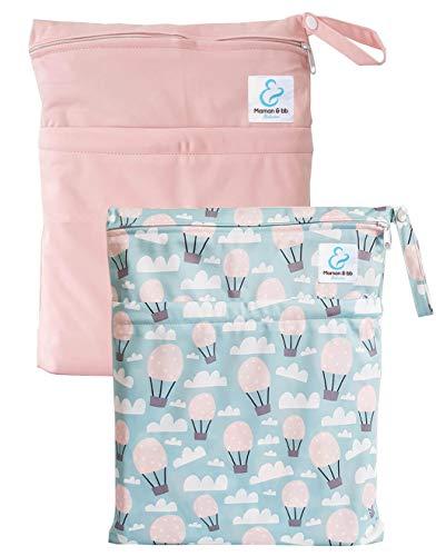 Maman et bb Nature – Lot 2 Sacs imperméables pour couches lavables 2 poches – Balloon Pink