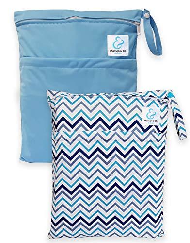 Maman et bb Nature – Lot 2 Sacs imperméables pour couches lavables 2 poches – Chevron