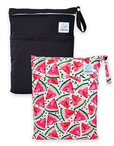 Maman et bb Nature – Lot 2 Sacs imperméables pour couches lavables 2 poches – Watermelon