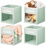 mDesign boîte de Rangement en Tissu (Lot de 4) – Caisse de Rangement pour Les Affaires de bébé, etc. – bac de Rangement Ouvert avec poignée et fenêtre de visualisation – Vert Menthe/Blanc