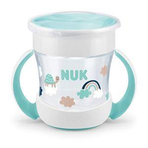 NUK Mini Magic Cup Tasse d'Apprentissage Bébé | rebord antifuite 360° | poignées ergonomiques | 6+ mois | 160 ml | sans BPA | nuages [garçons]