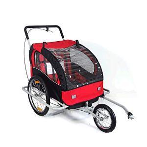Susulv-baby Siège Simple et Double siège Pliable Beton vélo Remorque, avec 2-en-1 Canopy et 16 Pouces Roues, for Les Enfants et Les Enfants Se convertit en Poussette/Jogger
