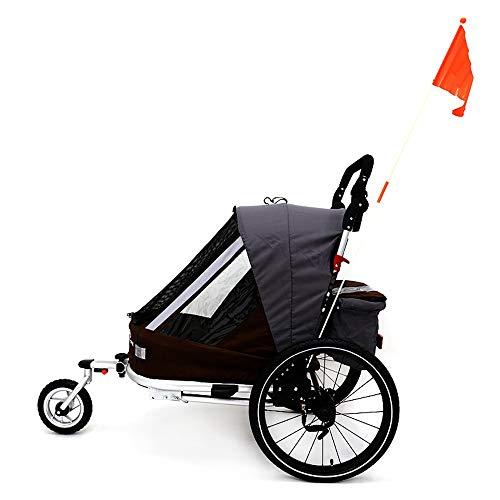 Susulv-baby Siège Unique Pliable Beton vélo Remorque, Poussette for Convertis/Jogger, avec 2-en-1 Canopy et 16 Pouces Roues, for Les Enfants et Les Enfants Se convertit en Poussette/Jogger