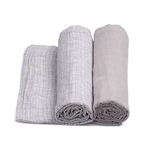 Urban Kanga Langes Coton Bébé 120 X 120 cm en Tissu de Mousseline – Pack de 2 (Gris)