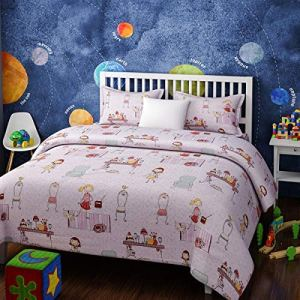 4everWithU Shandaar Enfants Tea Party Imprimer 200 TC Cotton Bedsheet avec taie d'oreiller (Lit Simple) (Rose) FZC # 17