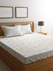 4everWithU Shandaar Mode Abstrait et imprimé Oiseaux Brindilles Blanc et Jaune Bedsheet Set FZC # 81
