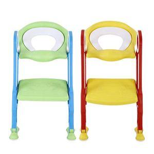 Abattant de toilettes pour enfant avec tapis antidérapant en PU Soft Pad antidérapant pour bébé Bleu + vert.