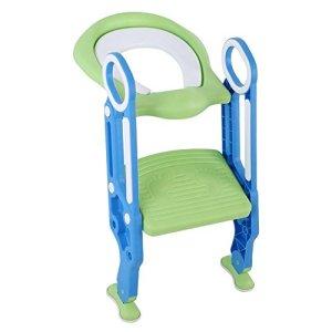 Ausla Siège de toilette pour bébé avec accoudoirs double face et échelle réglable en hauteur pour garçons et filles Bleu + vert.