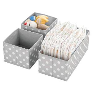 mDesign boîte de Rangement (Set de 3) – bac de Rangement en 2 Tailles différentes pour Chambre de bébé – corbeilles de Rangement en Fibre synthétique et Design Attrayant – Gris et Blanc