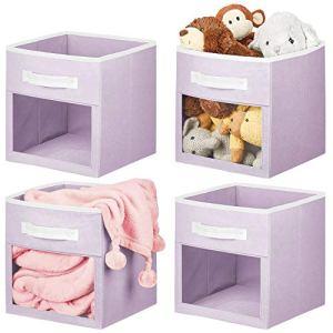 mDesign Boite de Rangement Tissu – Caisse de Stockage pour Les Affaires de bébé, Les couvertures, etc. – bac de Rangement Ouvert avec poignée et fenêtre de visualisation – Lot de 4 – Violet/Blanc