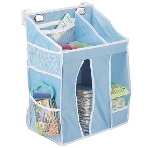 mDesign panier rangement bébé – étagère de rangement pour couches, lingettes, sucettes, jouets, etc. – organiseur salle de bain à plusieurs compartiments et poches – bleu clair/blanc