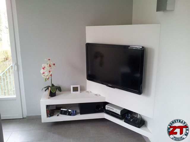 Tuto cr ation d 39 un meuble tv en placo for Meuble de coin salon