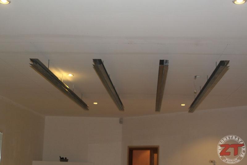Brico cr ation d un faux plafond avec ruban led et spots for Faire faux plafond