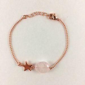 Armband met rozenkwarts druppel