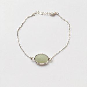 Armband met groen grijs natuursteen (zilver)