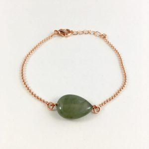 Armband met groene jade rose goud