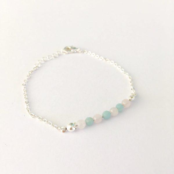 Armband met jade en rozenkwarts zilver