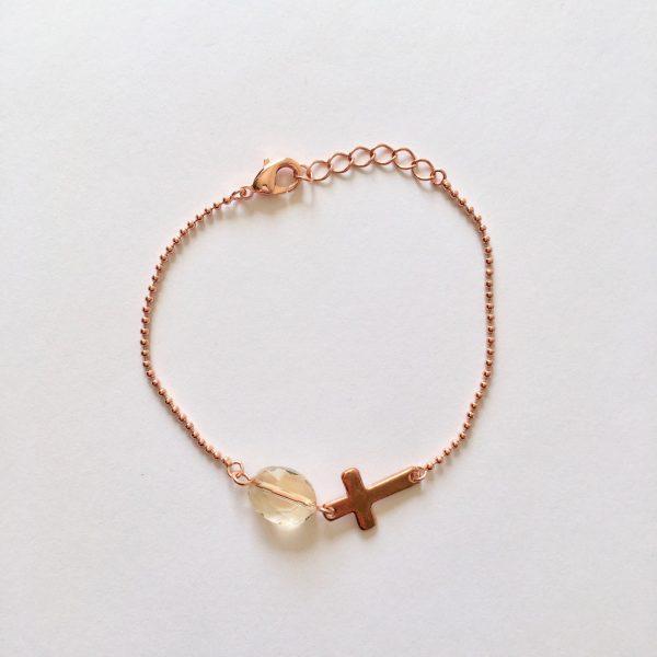 Armband met kwarts (rosé goud)