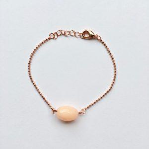 Armband met natuursteen zalmroze ovaal rose goud