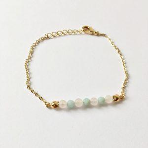Armband met rozenkwarts en amazoniet goud