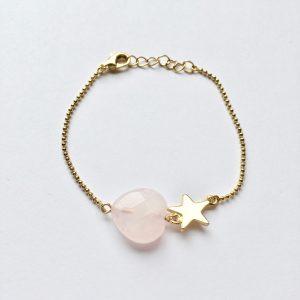 Armband met rozenkwarts hart goud