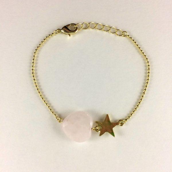 Armband-met-rozenkwarts-hart-goud