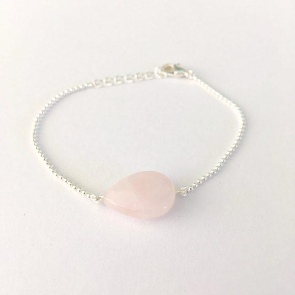 Armband met rozenkwarts zilver