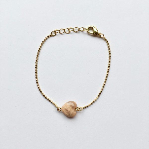Armband met sardonyx hart goud