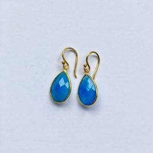 Edelsteen oorbellen Blue Chalcedony 925 zilver verguld
