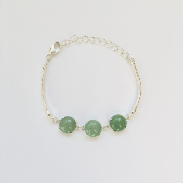 Fijne armband met natuursteen bedels groen zilverkleurig