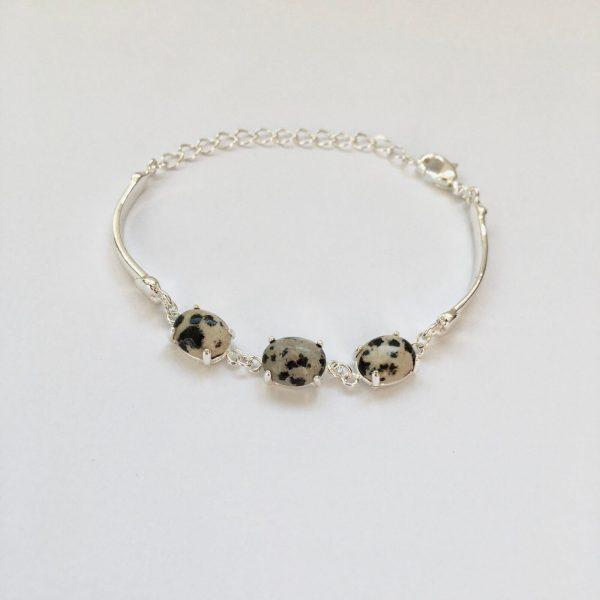 Fijne armband met natuursteen bedels multi zilverkleurig