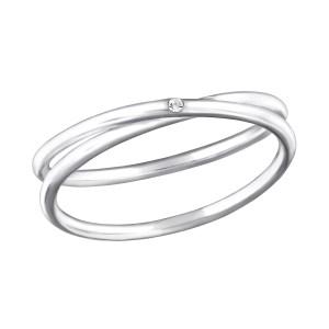 Fijne zilveren ring verweven maat 7