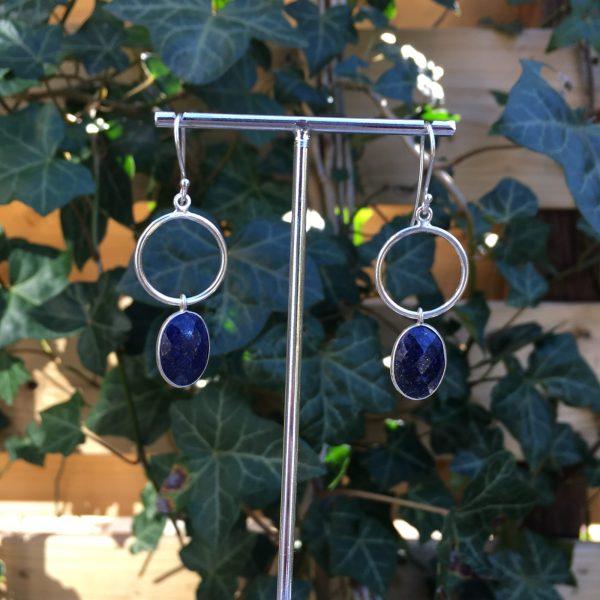 Grote edelsteen oorbellen lapis lazuli 925 zilver