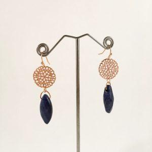 Grote oorbellen met lapis lazuli (rose goud)