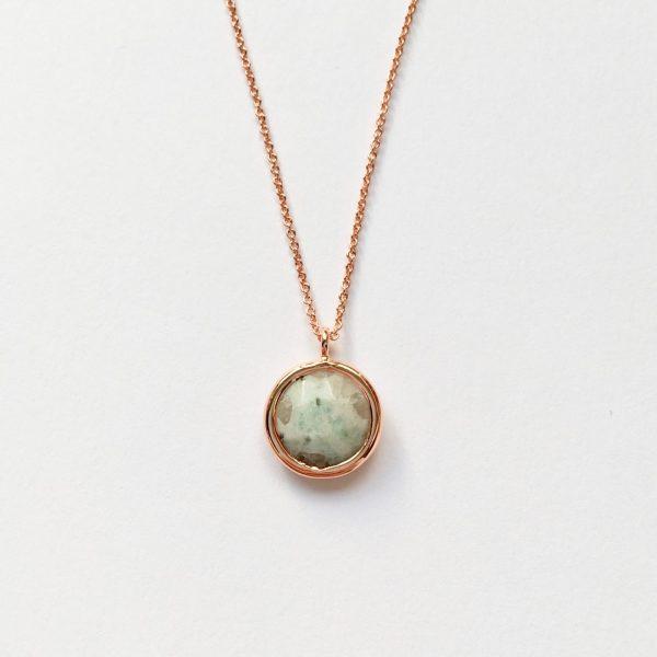Ketting met hanger natuursteen groen bruin rosé goud