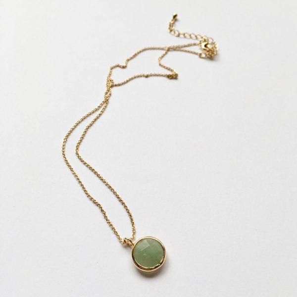 Ketting met hanger natuursteen lente groen goud edelsteen ketting korte ketting